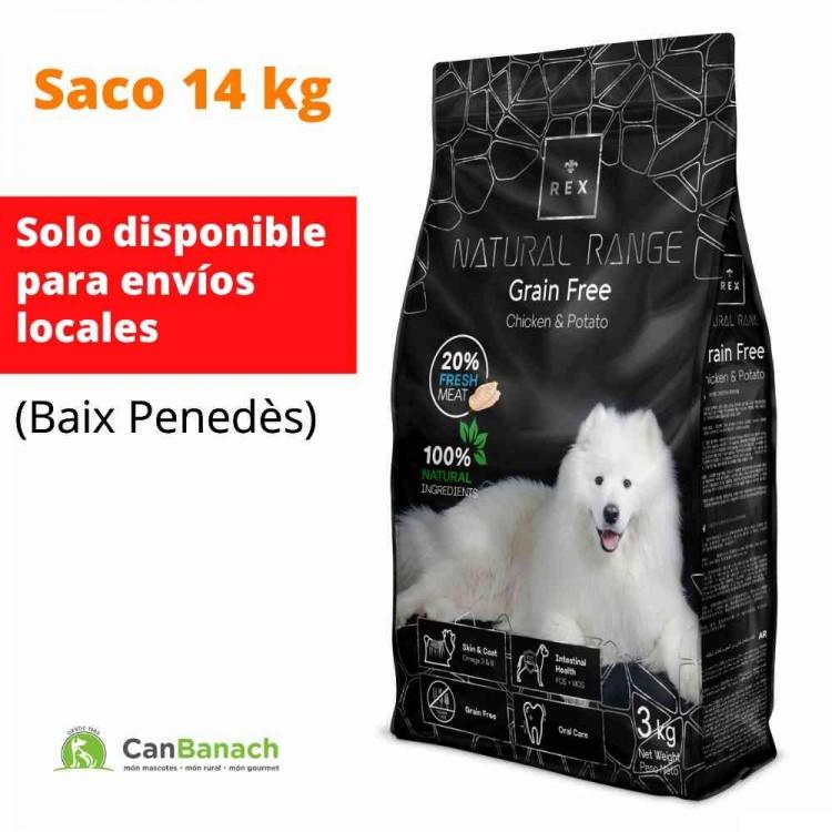 REX DOG NATURAL RANGE GRAIN FREE (Sin Cereales) CON POLLO Y PATATA SACO DE 14 KG