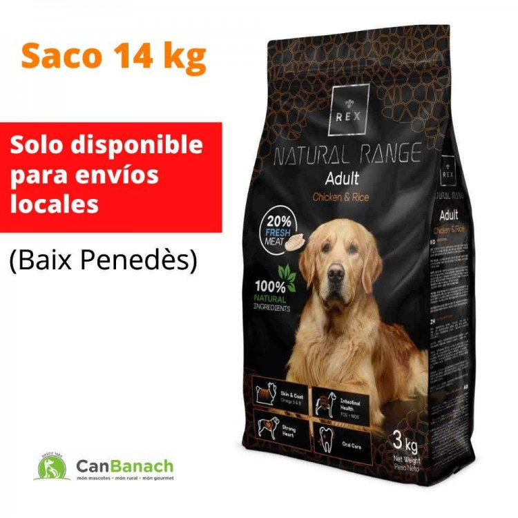REX DOG NATURAL RANGE ADULT CHICKEN & RICE SACO DE 14 KG