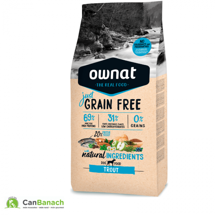 Ownat Dog Just Grain Free Adult Trout (Trucha) saco de 14 kg
