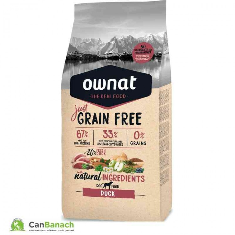 Ownat Dog Just Grain Free Adult Duck saco 14 Kilos