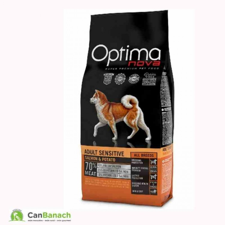 Optima Nova Dog Grain Free Adult Sensitive Salmón y Patata saco 12 kg