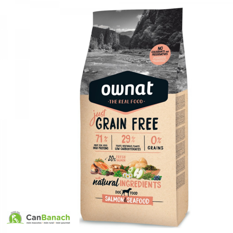 Ownat Dog Just Grain Free Salmón & Seadfood saco de 14 Kilos