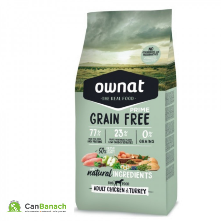 Ownat dog prime grain free adult chicken & turkey saco 14 kg