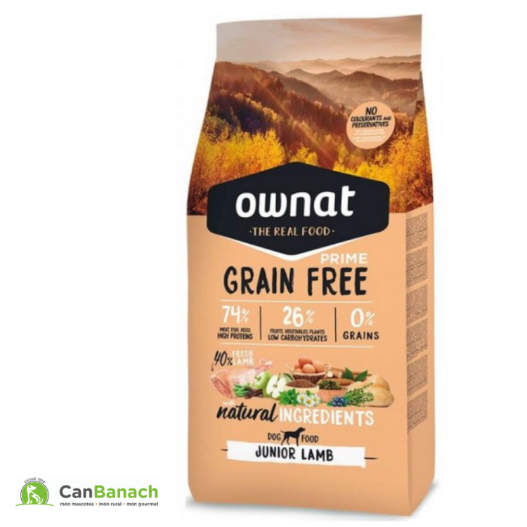 Ownat Dog Prime Grain Free Junior Lamb saco 14 Kilos