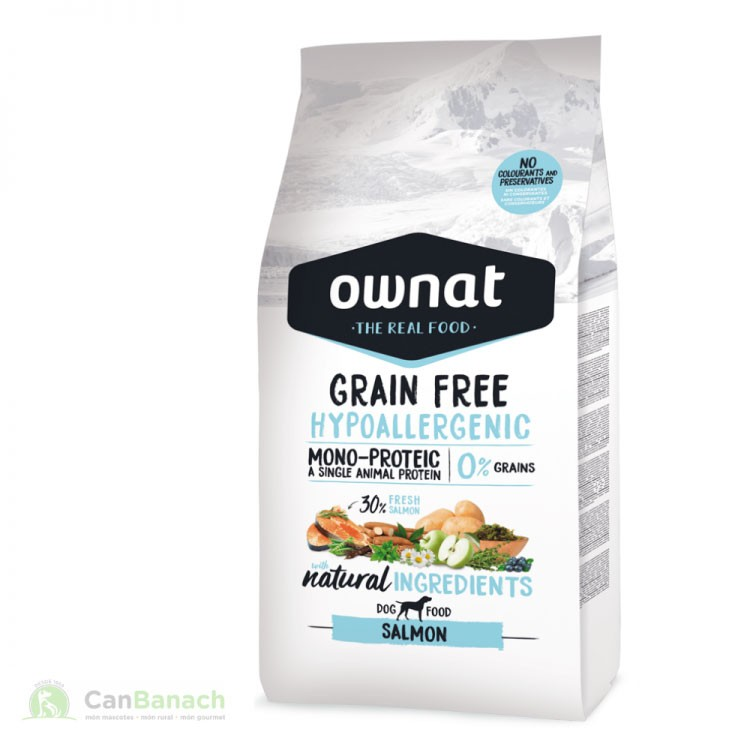Ownat Grain Free Hypoallergenic Salmón saco 14 kg