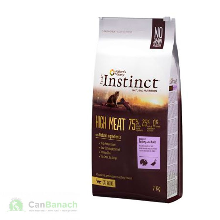True Instinct High Meat Adult con pavo deshuesado y pato 7Kg
