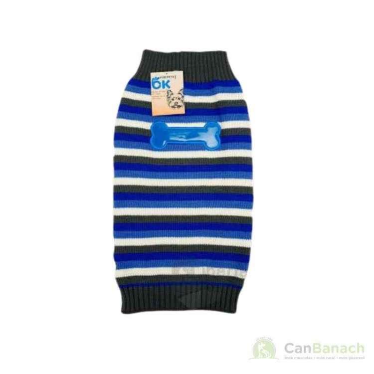Jersey de lana para perros de rallas con hueso/huella 30 cm