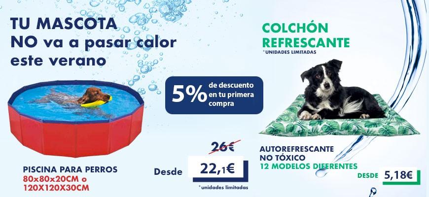 Colchón y piscina para perros